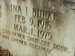 burke Ina Inez Burke headstone