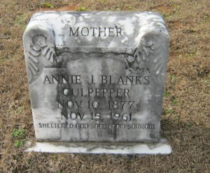 culpepper annie j blanks headstone