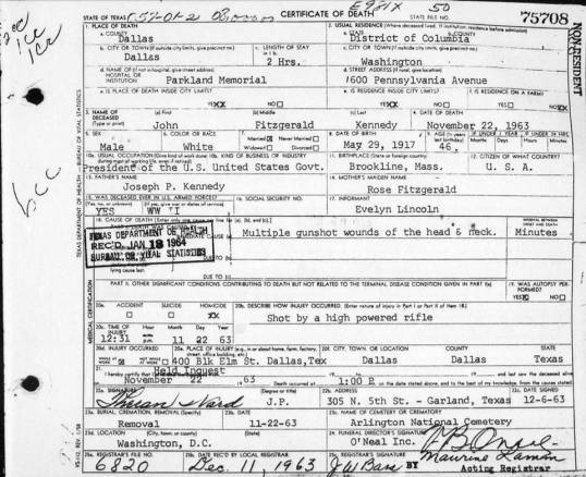 John F Kennedy death cert