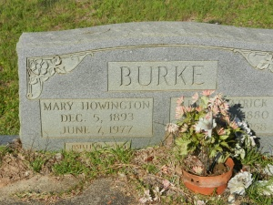 burke Mary Howington Burke headstone