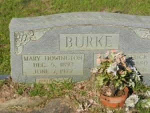 burke Mary Howington Burke headstone