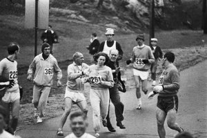 boston marathon race organizers attempt to stop kathrine switzer from running 1967. she finished the race